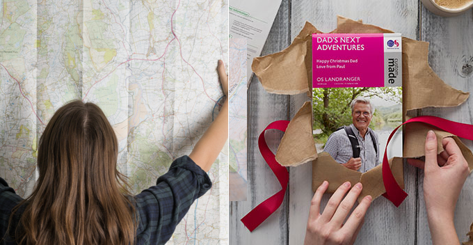 OS Maps with custom titles and areas, the perfect Christmas gift for an outdoorsy friend