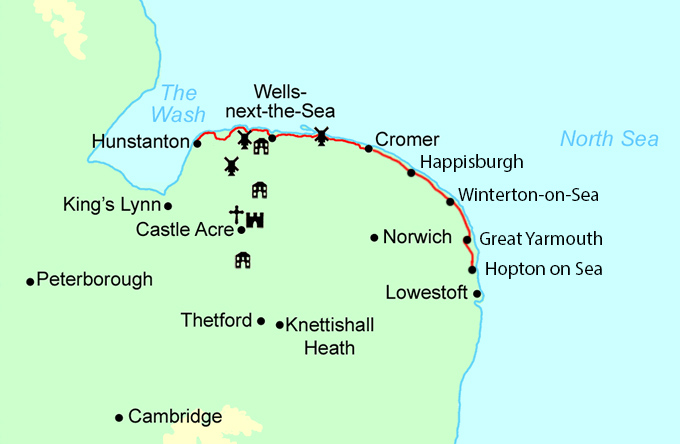 Norfolk Coast Path Trail Running  map