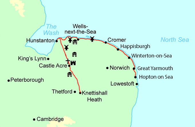 Peddars Way and Norfolk Coast Path Trail Running map